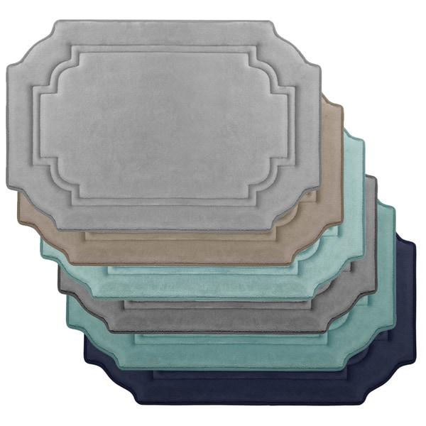 Embossed Double Border Premium Micro Plush Memory Foam Bath Rug