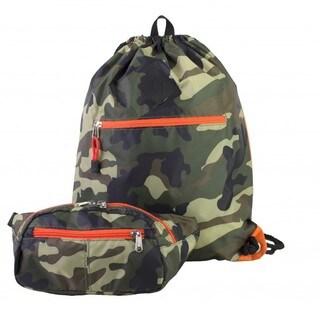 Eastsport Absolute Camo Sport Belt Bag and Drawstring Backpack