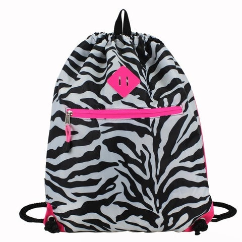 Eastsport Zebra Drawstring Sackpack with Diamond Patch