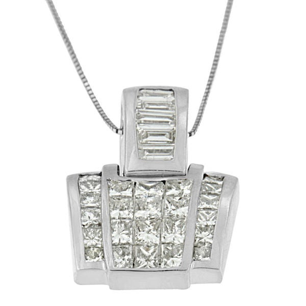 1d6c0396f 14k White Gold 2 2/5ct TDW Princess and Baguette Diamond Pendant Necklace  (G-H