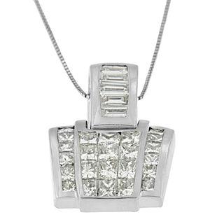 14k White Gold 2 2/5ct TDW Princess and Baguette Diamond Pendant (I-J, I2-I3)
