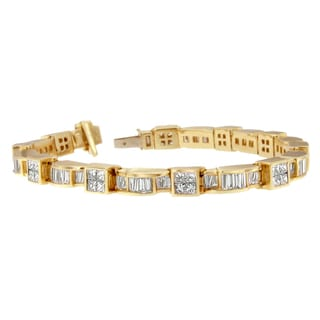 14k Yellow Gold 7 1/10 TDW Princess and Baguette Diamond Bracelet