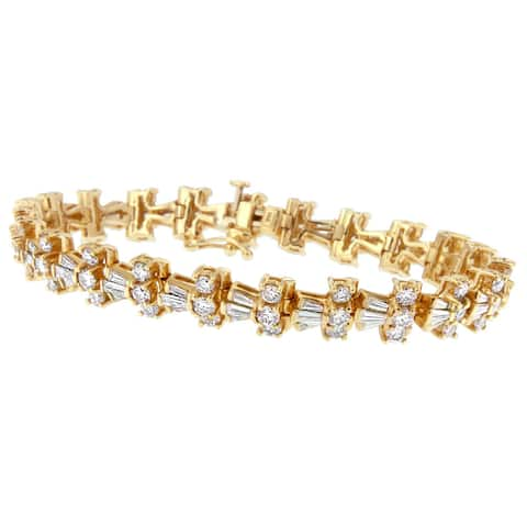 14K Yellow Gold 10.5ct. TDW Round and Baguette Cut Diamond Trio Tennis Bracelet (H-I, SI1-SI2)
