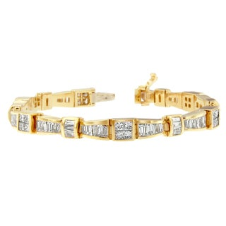 14k Yellow Gold 7 3/4ct TDW Princess and Baguette Diamond Bracelet (H-I, SI1-SI2)