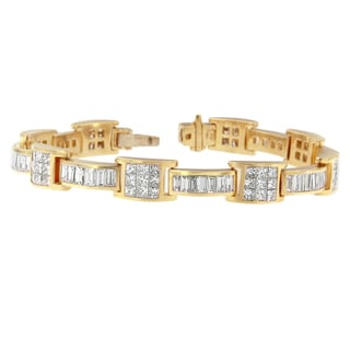 14k Yellow Gold 10 3/4 TDW Princess and Baguette Diamond Double Boxed Bracelet (H-I, SI1-SI2)
