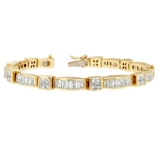 14K Yellow Gold 7 1/3ct. TDW Princess and Baguette Cut Diamond Box Square Link Bracelet (H-I, SI1-SI2)