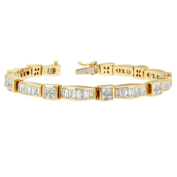 baguette link inches gold white cut mens diamond ct bracelet