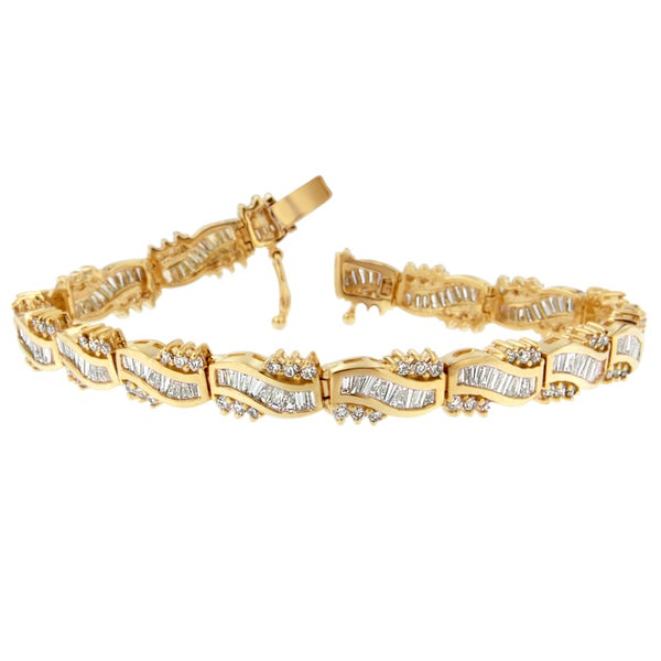 14k Yellow Gold 5 3 4ct Tdw Round And Baguette Diamond Wave Bracelet