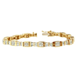 14k Yellow Gold 5 7/8ct TDW Princess and Baguette Diamond Bracelet (H-I, SI1-SI2)