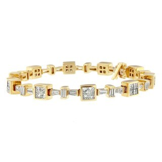 14K Yellow Gold 6.73 ct. TDW Princess and Baguette Cut Diamond Mini Bow Bracelet (H-I,VS2-SI1)