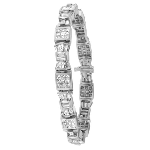 14k White Gold 9ct Tdw Princess And Baguette Cut