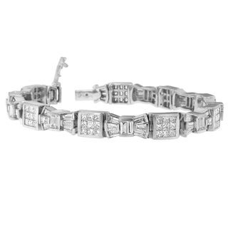 14K White Gold 9ct. TDW Princess and Baguette Cut Diamond Mod Bow Bracelet (G-H,VS2-SI1)