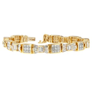 14k Yellow Gold 9ct TDW Princess and Baguette Diamond Bracelet (H-I, SI1-SI2)
