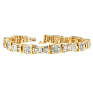 14K Yellow Gold 9 ct. TDW Princess and Baguette Cut Diamond Bracelet (G-H,VS1-VS2)