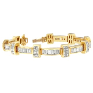14k Yellow Gold 7 2/5ct TDW Princess and Baguette Diamond Bracelet (H-I,SI1-SI2)