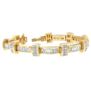 14K Yellow Gold 7 3/8ct TDW Princess and Baguette Cut Diamond Bar Link Bracelet (H-I,SI1-SI2)