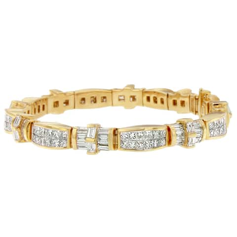 14K Yellow Gold 11 1/4ct. TDW Princess and Baguette Cut Diamond Ties of Love Eternity Bracelet (G-H,VS1-VS2)