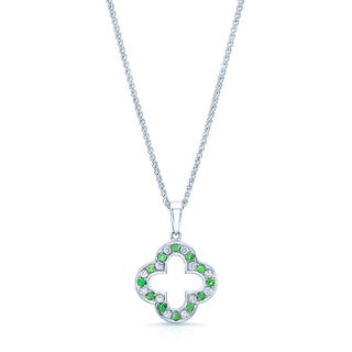 14k White Gold 1/12ct TDW Diamond and Tsavorite Pendant (H-I, VS1-VS2)