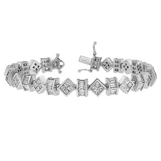 14k White Gold 9 1/4ct TDW Princess and Baguette Diamond Bracelet (H-I, SI1-SI2)