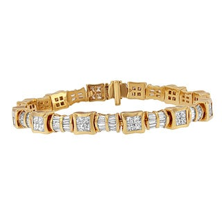 14K Yellow Gold 7 1/6ct.TDW Princess and Baguette Cut Diamond Textured Link Bracelet (G-H,VS1-VS2)