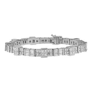 14k White Gold 8 3/4ct TDW Princess and Baguette Diamond Bracelet