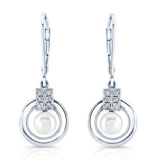 18k White Gold 1/20ct TDW Diamond and White Freshwater Pearl Earrings (H-I, VS1-VS2, 5 - 6 mm)