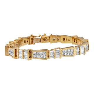 14k Yellow Gold 8 1/4ct TDW Princess and Baguette Diamond Bracelet (H-I, SI1-SI2)