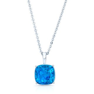14k White Gold Cushion-cut Blue Topaz Solitaire Necklace