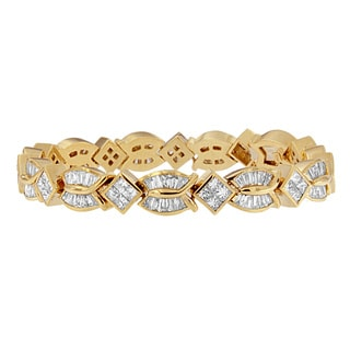 14k Yellow Gold 8 1/5ct TDW Princess and Baguette Diamond Bracelet (H-I, SI1-SI2)
