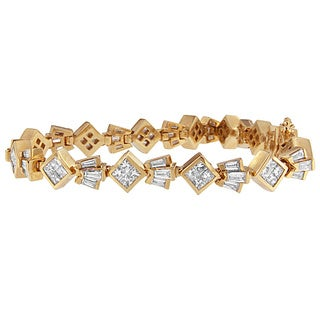 14K Yellow Gold 7 3/4ct. TDW Princess and Baguette Cut Diamond Geometric Bracelet (G-H,VS1-VS2)