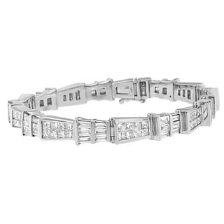 14k White Gold 8 2/5ct TDW Princess and Baguette Diamond Bracelet (H-I,SI1-SI2)