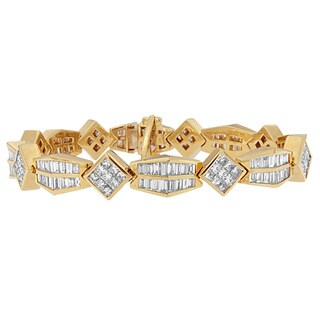 14K Yellow Gold 9 3/8ct.TDW Princess and Baguette Cut Diamond Bold Link Bracelet (G-H,VS1-VS2)