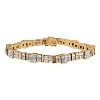 14k Yellow Gold 8 3/4ct TDW Princess and Baguette Diamond Bracelet