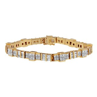 14K Yellow Gold 8 3/4ct. TDW Princess and Baguette Cut Diamond Mixed Link Bracelet (G-H,VS1-VS2)