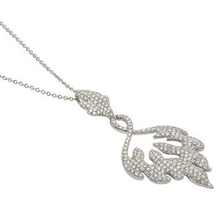 Kabella Luxe 18k White Gold 2 1/8ct TDW Diamonds Swirling Flame Necklace (G-H, SI1)