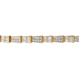 14K Yellow Gold 8 3/8ct. TDW Princess and Baguette Diamond Geo-Link Bracelet (H-I,SI1,SI2)