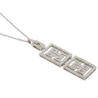Kabella 18k White Gold 1 1/3ct TDW Diamond Geometric Necklace (G-H, SI1)