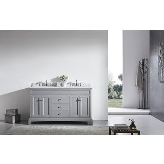 "Eviva Elite Stamford 60"" Grey Bathroom Vanity Set with Double OG White Carrera Marble Top & White Undermount Porcelain Sinks"