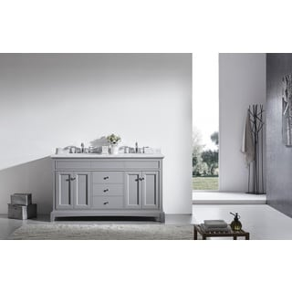 "Eviva Elite Stamford® 60"" Gray Bathroom Vanity Set with Double OG White Carrera Marble Top & White Undermount Porcelain Sinks"
