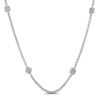 Miadora Sterling Silver White Sapphire Station Necklace