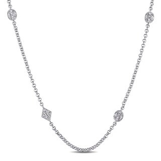 Miadora Sterling Silver White Sapphire Station Necklace