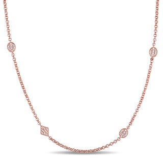 Miadora 14k Rose Gold Plated Sterling Silver White Sapphire Station Necklace