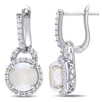 Miadora Sterling Silver Opal and White Topaz Halo Dangle Earrings