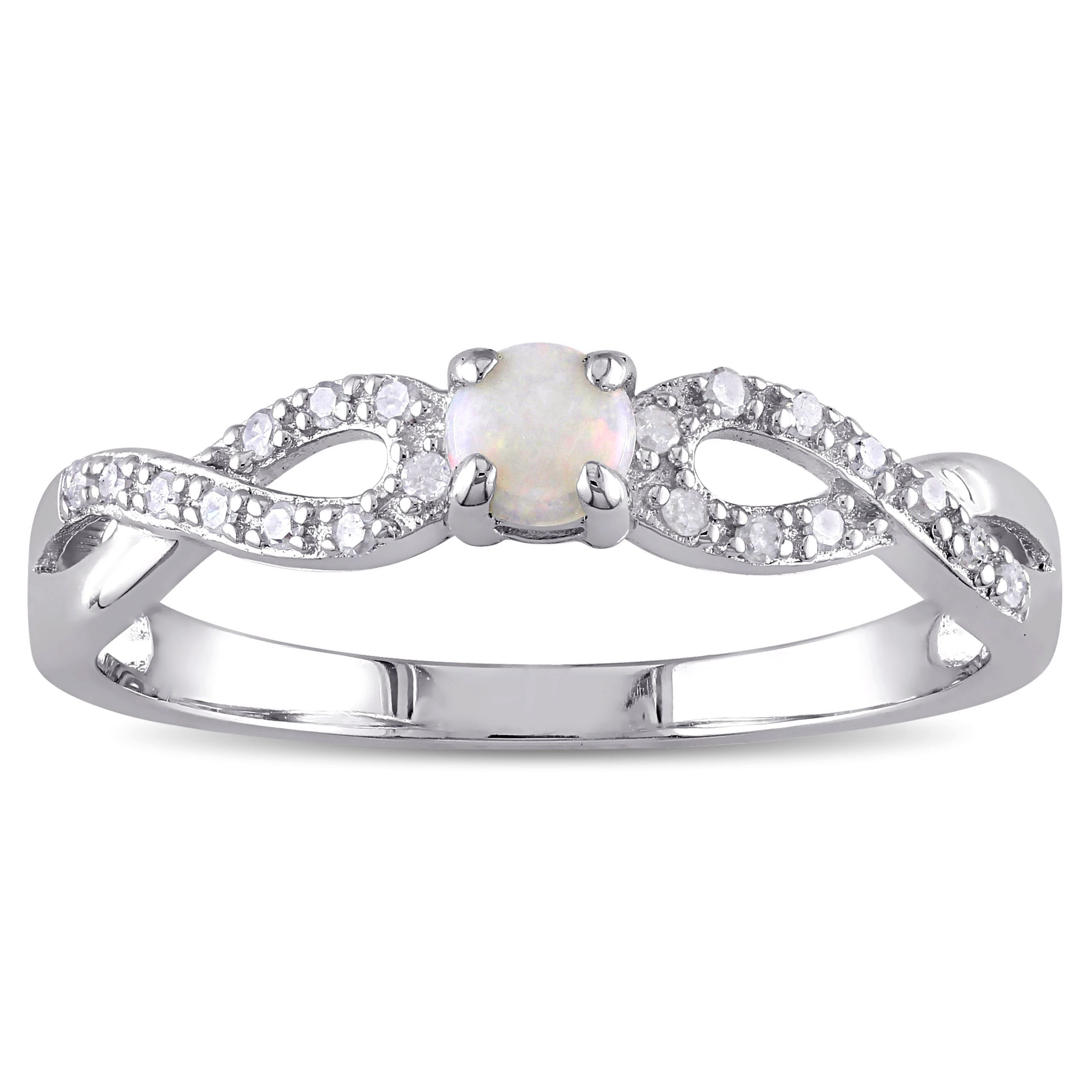 Miadora Sterling Silver Opal and 1/10ct TDW Diamond Infin...
