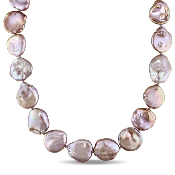 Miadora Sterling Silver Cultured Freshwater Pink and Purple Pearl Strand Necklace (14-20 mm)