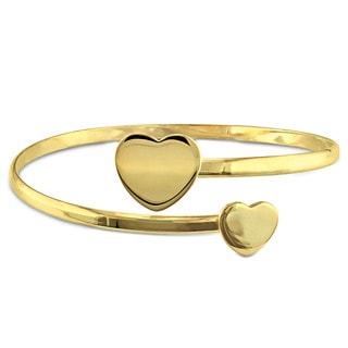Miadora Yellow Plated Sterling Silver Heart Cuff Bangle Bracelet