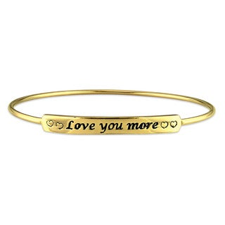 """Miadora Yellow Plated Sterling Silver """"Love You More"""" ID Bangle Bracelet"""