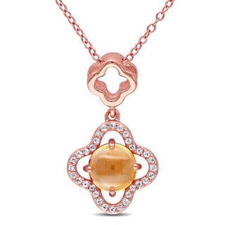 Miadora Rose Plated Sterling Silver Citrine and White Topaz Clover Halo Necklace