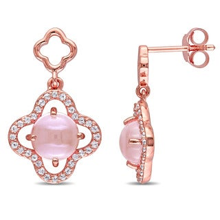 Miadora Rose Plated Sterling Silver Rose Quartz and Cubic Zirconia Clover Halo Dangle Earrings