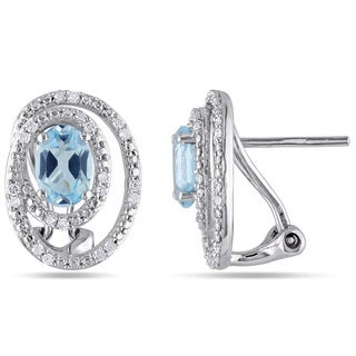 Miadora Sterling Silver Blue Topaz and 1/5ct TDW Diamond Halo Earrings (G-H, I2-I3)